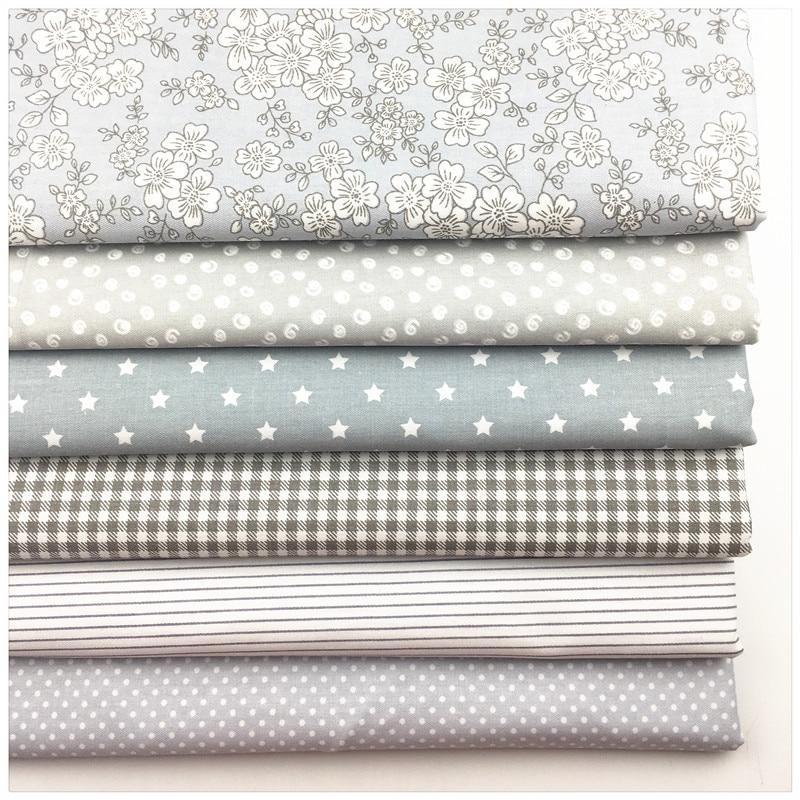 Syunss, новый серый цветочный Печатный Хлопок Ткань DIY ткани лоскутное одеяло шитье детские игрушки постельные принадлежности стеганый Tecido Тильда Ткань