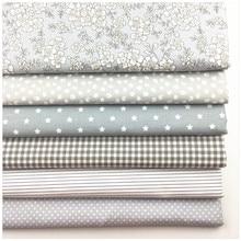 Syunss nuevo gris Floral impreso tela de algodón bricolaje pañuelo de retales Telas costura juguete del bebé cama de tejido acolchado Tilda de la tela