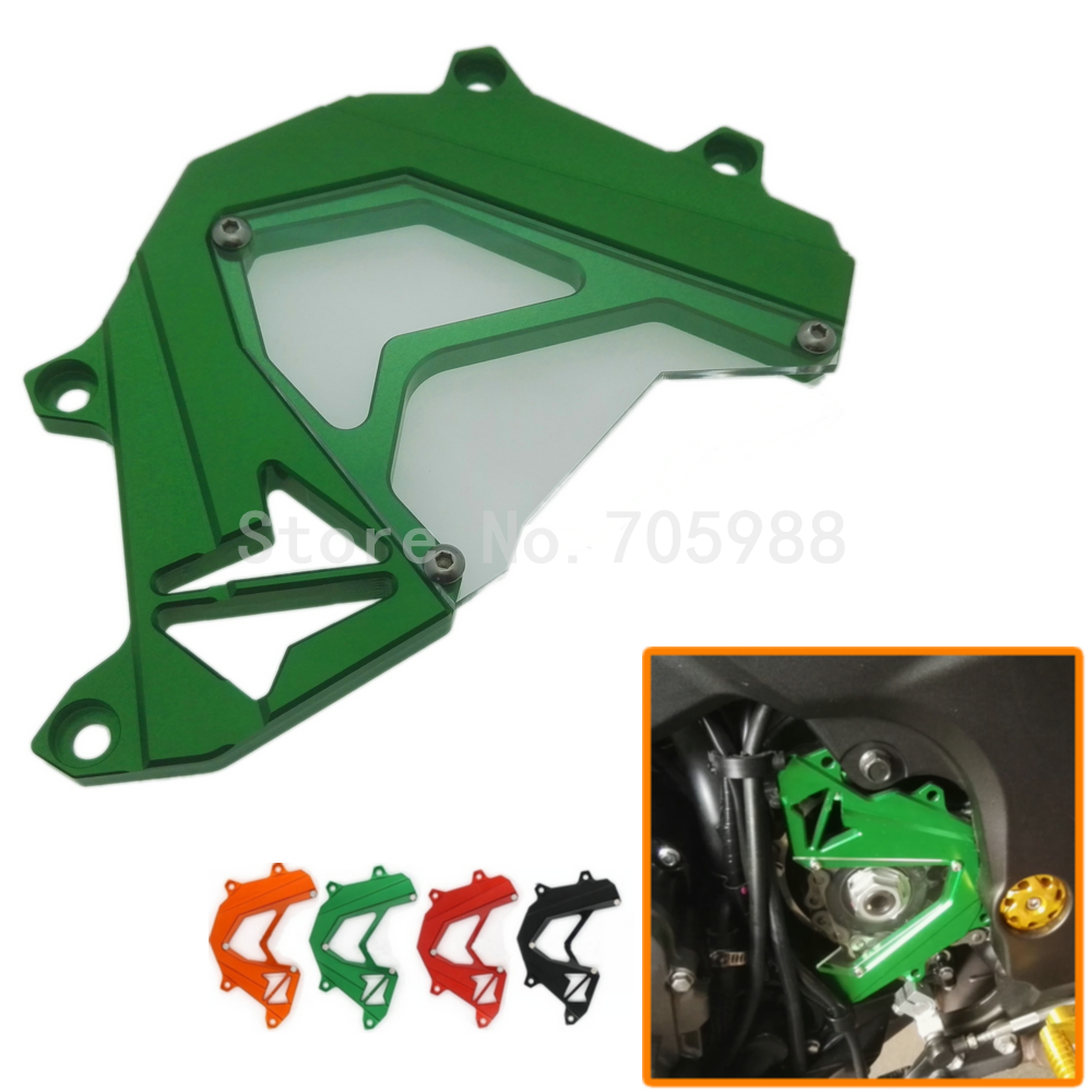 Motorbike Green Color Scooter Front Sprocket Cover Panel Left Engine Guard Chain Cover Protection For Kawasaki Z800 2013-2016 motorcycle cnc aluminum scooter billet front sprocket cover engine chain guard protector protection for ktm duke 125 200 duke200