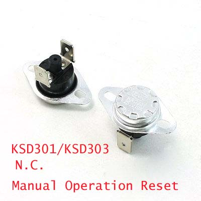 2 Pcs NC Soldered Type 45-150C Degree Celsius Manual Operation Reset Thermal Thermostat 10A AC250V KSD301/KSD303 10pcs ksd301 92 celsius temperature switch bimetal disc thermostat nc