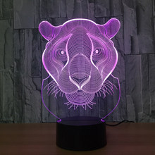 USB NightLight Holiday Gift LED Lights Seven Colors Novelty Tiger Lion Shaped Home Lighting 3D Table Lamp Christmas Gifts Decor(China)