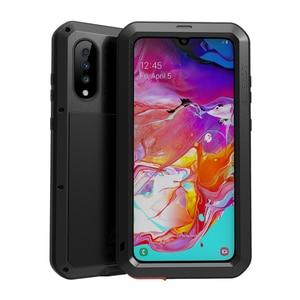 Image 4 - AMORE MEI Potente Cassa Del Metallo Per Samsung Galaxy A70 Cassa di Alluminio Impermeabile Antiurto Copertura per Samsung A70 Gorilla di vetro UN 70