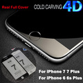 3D Curved Edge Round Full Coverage 4D Tempered Glass COLD CARVING Screen Protector Film for iPhone 7 6 6s Plus