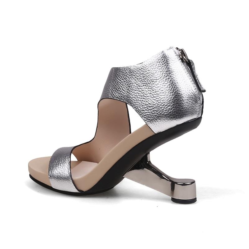 Mode Sandales Baiser En Cuir Ouvert Femmes Mouillé Talon print Véritable Chaussures Femme 2019 À De Noir D'impression D'été Inhabituel Bout argent OgSwOA