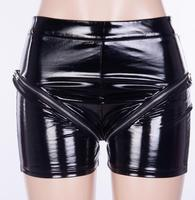 Women's summer zipper style hollow out shiny pu leather shorts female sexy club party dancing patent leather shorts TB537