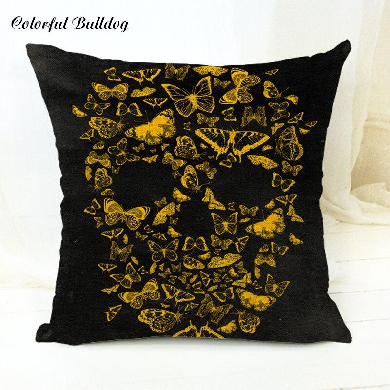 Halloween Style Cushion Cover Flower Skull Balloon Butterfly Ice Cream Cartoon Painting Throw Pillow Case Home Sofa Car Seat Dec