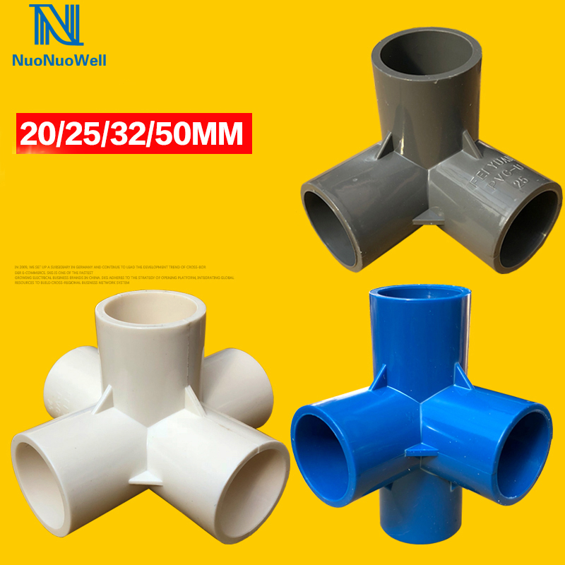 5pcs 25mm Inner Dia White Stereo Joint PVC Water Pipe Tube Adapter Connector