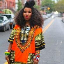 Традиционных африканских dashiki orange блузка летом рубашка печати одежды топы плюс
