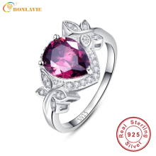 BONLAVIE Exquisite 4.1Ct Pear Cut Garnet Water Drop Butterfly Ring Sterling Silver 925 Fashion Rings Jewelry Womens Accessories
