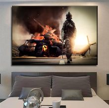 Without Frame Or Framework Canvas Painting Modern HD Print Wall Art 1 Piece Games Battlefield 4 Soldier And Helicopter Poster(China)