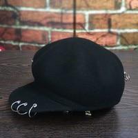 The new petals octagonal cap metal ring pin cloth baseball cap riding hat