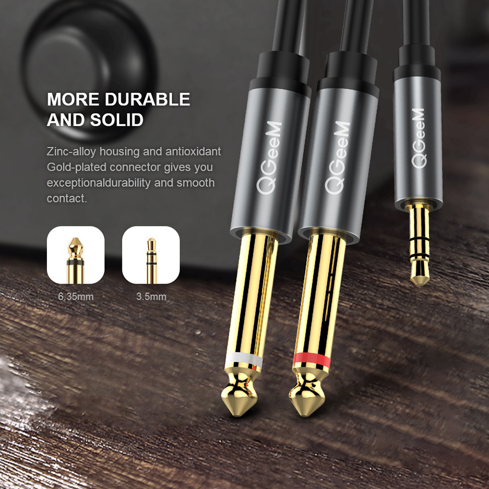 Image 2 - QGEEM Jack 3.5mm to 6.35mm*2 Adapter Audio Cable for Mixer Amplifier Speaker Gold Plated 6.5mm 3.5 Jack  Splitter Audio Cable