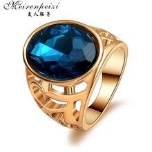 Винтажное мужское кольцо байкер с синим камнем, Кристальное кольцо в стиле панк; бижутерия золотого цвета, кольца, австрийская бижутерия с кристаллом для мужчин и женщин, высокое качество