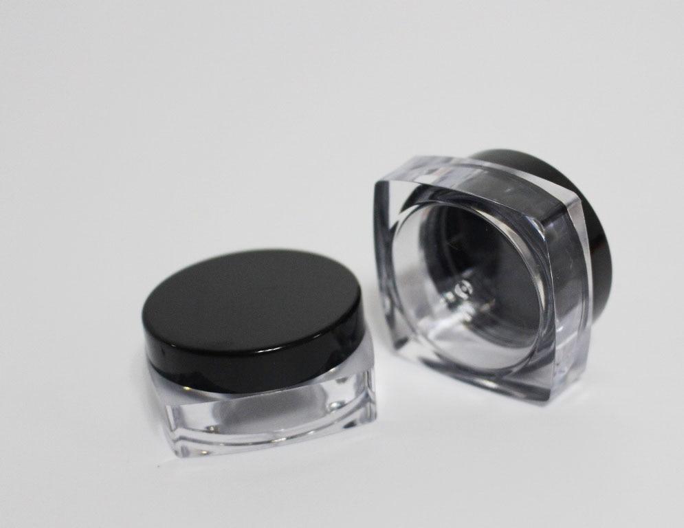 500pcs lot empty plastic square cosmetic jar 10g for loose powder nail glitter diamond shape jar
