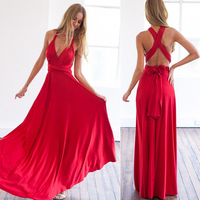 2017 Summer Women Multi Way Dress Beautiful Red Maxi Dress Sexy V Neck Wrap Around Design