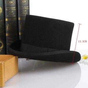 Image 2 - Gemvie 13.5cm 100% lã de feltro chapéu superior para homens fedoras para mulher chapeleiro louco cilindro traje chapéu cavalheiro derby chapéu mágico