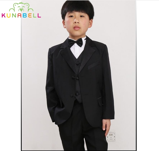 Brand Flowers Boys Handsome Formal Suit Wedding Birthday Dress Gentleman Kids Waistcoat Shirt Pant Bowtie Children Costumes F42