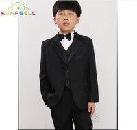 Brand Flowers Boys Handsome Formal Suit Wedding Birthday Dress Gentleman Kids Waistcoat Shirt Pant Bowtie Children