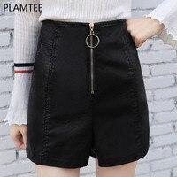 PLAMTEE Women Fake PU Leather Shorts Female Short Pants With High Waist Zipper Down Casual Brief