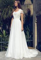 2019 Boho A line Modest Wedding Dresses With Cap Sleeves Sweetheart Lace Chiffon Informal Beach Wedding Gowns Reception Dress