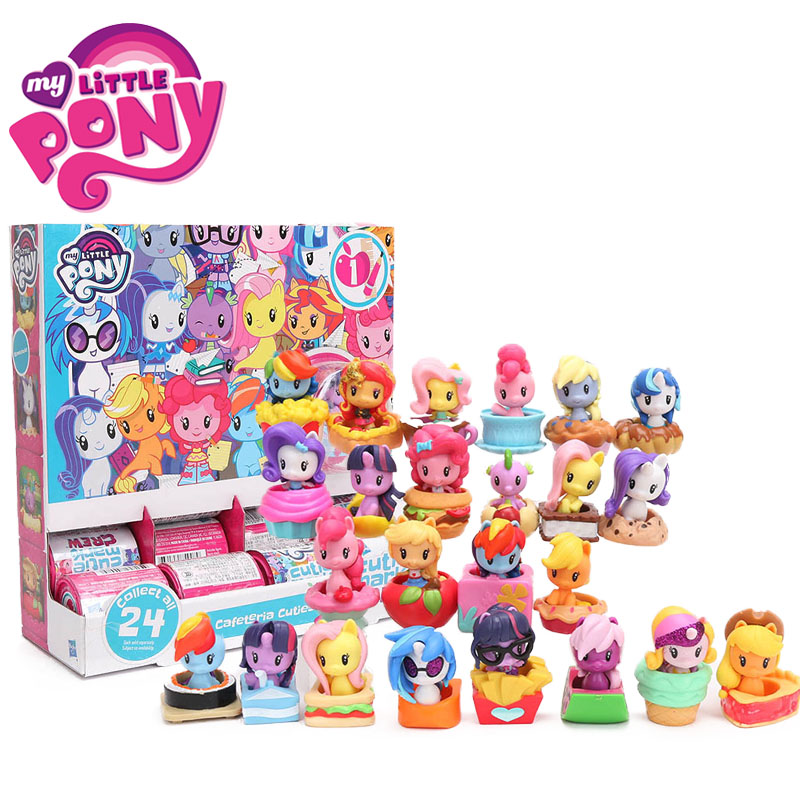 24pcs set My Little Pony Toys Cafeteria Cuties Mini Pony Dolls Friendship is Magic Rainbow Dash