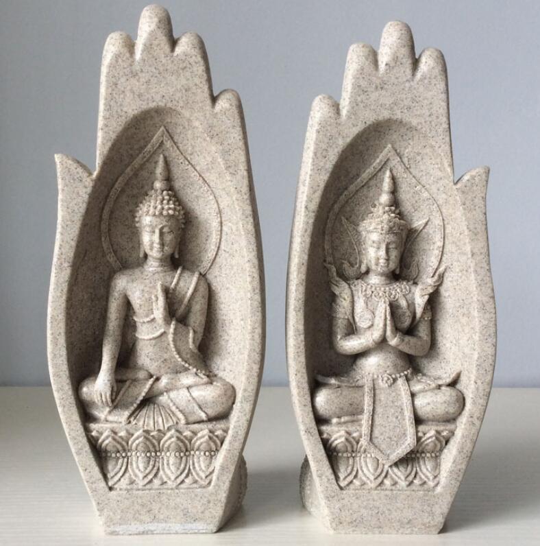 2 Pcs Petit Bouddha Statue Moine Figurine Tathagata Inde Yoga Mandala Mains Sculptures Décoration de La Maison Accessoires Ornements