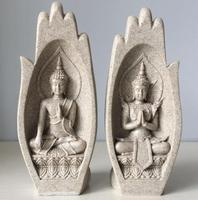 Small Buddha Statue Monk Figurine Tathagata India Yoga Mandala Hands Sculptures Home Decoration Accessories Ornaments
