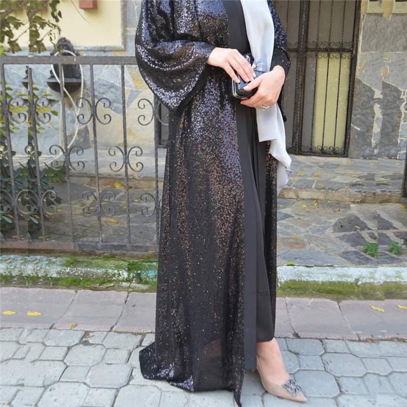 2019 Black Abaya Dubai Kaftan Sequined Cardigan Hijab Muslim Dress Jilbab Robe Musulmane Longue Women Turkish Islamic Clothing