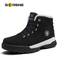 SERENE Brand Men's Boots Waterproof Male Shoes Suede Work Shoe Warm Fur Winter Casual Snow Bot Man Sneakers Mens Ankle Boots