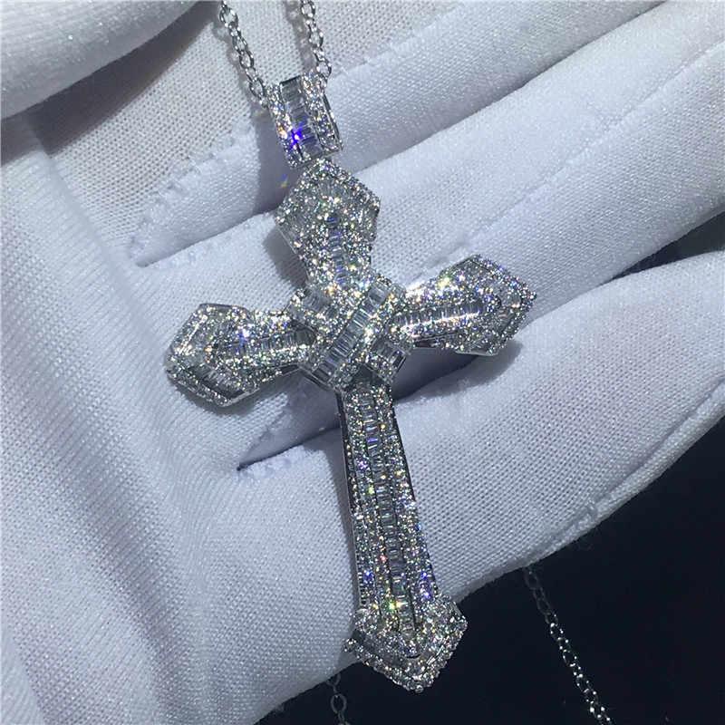 Vecalon ручной работы подвеска с большим крестом 925 пробы серебро AAAAA Cz Свадебные обручальные Подвески с ожерельем для женщин и мужчин ювелирные изделия