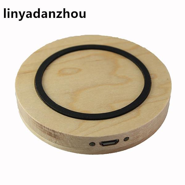 2017 Round <font><b>Qi</b></font> Standard Wooden Wireless <font><b>Charger</b></font> Charging Pad for samsung <font><b>s5</b></font> s6edge iphone6 7 plus