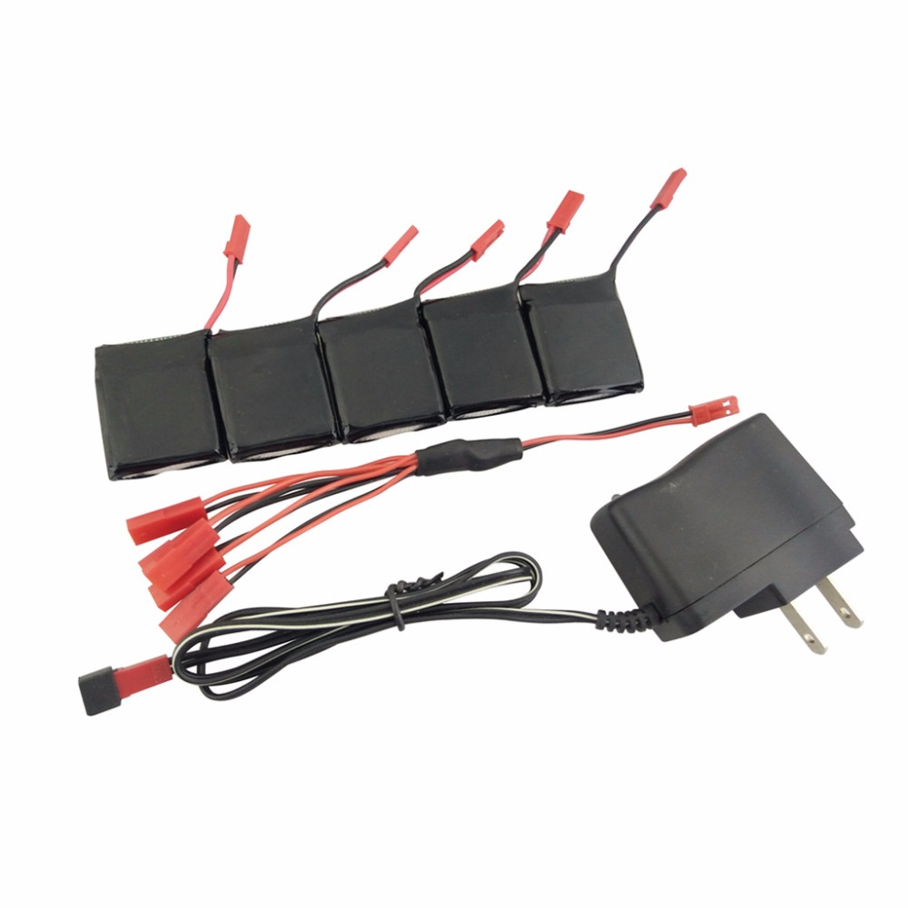 RC Quadcopter 5PCS 3.7V 650mAh Lithium Battery U.S.regulations 1PCS battery charger 1 for 5 transfer line for X8TW X8T Q1012 Q9 30a 3s polymer lithium battery cell charger protection board pcb 18650 li ion lithium battery charging module 12 8 16v