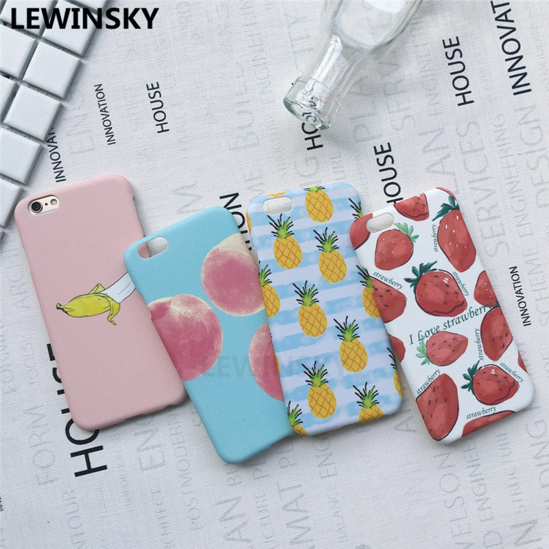 Ultra thin Plastics Hard Case For iPhone 6 6S 7 8 X Cute Cartoon Fruit PC Phone Protection Back Cover For iPhone 7 8 Plus Case