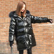 Grande gola de pele de guaxinim real com capuz 2019 nova marca 90% pato branco para baixo jaqueta feminina à prova dwaterproof água brilhante neve parka outwear feminino