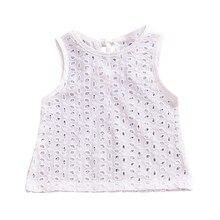Топы для маленьких девочек; милые кружевные топы; футболка; блузка; белая одежда; хлопковая футболка без рукавов для девочек