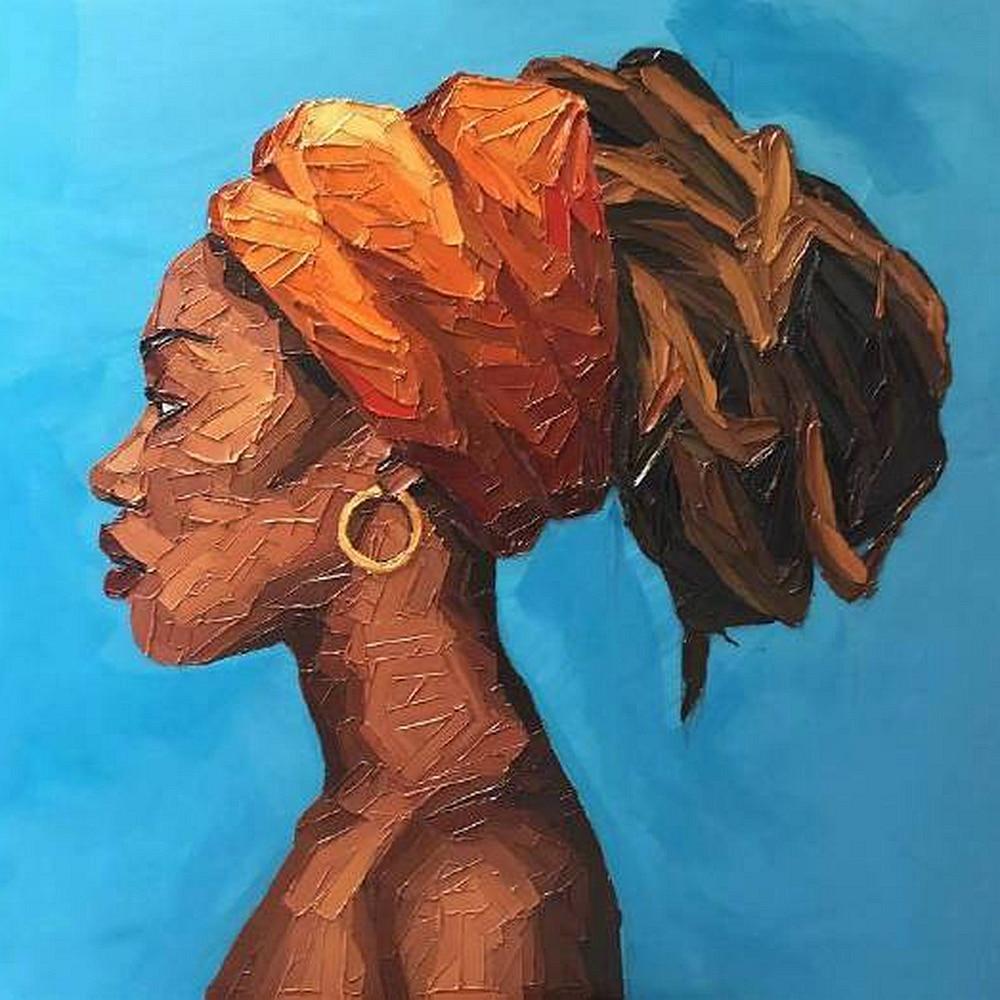 Américain africain femme Portrait œuvre huile couteau toile peinture pour chambre couloir bureau mur décor Vintage décorations pour la maison