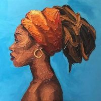 African Woman Painting Canvas