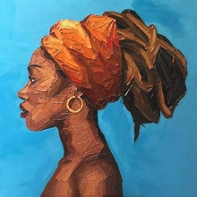 American African Woman Portrait Artwork Oil Knife Canvas Painting for Bedroom Hallway Office Wall Decor Vintage Home Decorations