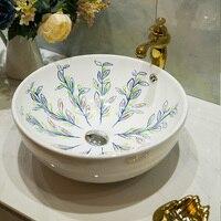 A1 European ceramic washbasin art basin petal shaped washbasin peacock screen LO620151