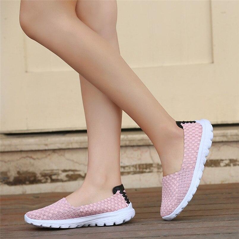 Fashion Women Casual Shoes Woven Breathable Flat Sandals Beach Shoes chaussure femme talon sapato feminino schoenen vrouw S# woven flat slide sandals
