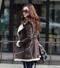 2016 Plus Size Winter Jacket Women Lamb Wool Lapel Medium long Suede Fabric Wadded Belt Slim