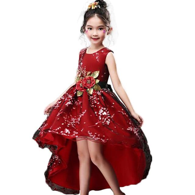 Girls Sleeveless Princess Children Handmade Flowers Girl Dress For ...