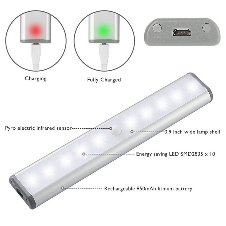 Motion Sensor LED Lights for Closet and Stairs of 10 Pcs Set 8