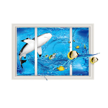 60*90cm 3D Under Sea World Wall Sticker Bathroom Kids Room Decor Dolphin  Sticking Poster PVC Removable On Sale