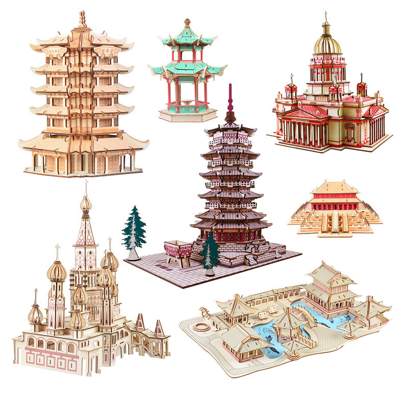 DIY 3D Wooden Puzzle Construction Building Simulation Church Tower Model Set Assembly Education Toys Gifts For Children Kids