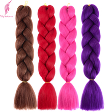 Yiyaobess 24inch Synthetic braiding hair 100g/pack Crochet Hair Extension Red Purple Pink Gray Blue Black Jumbo Braid
