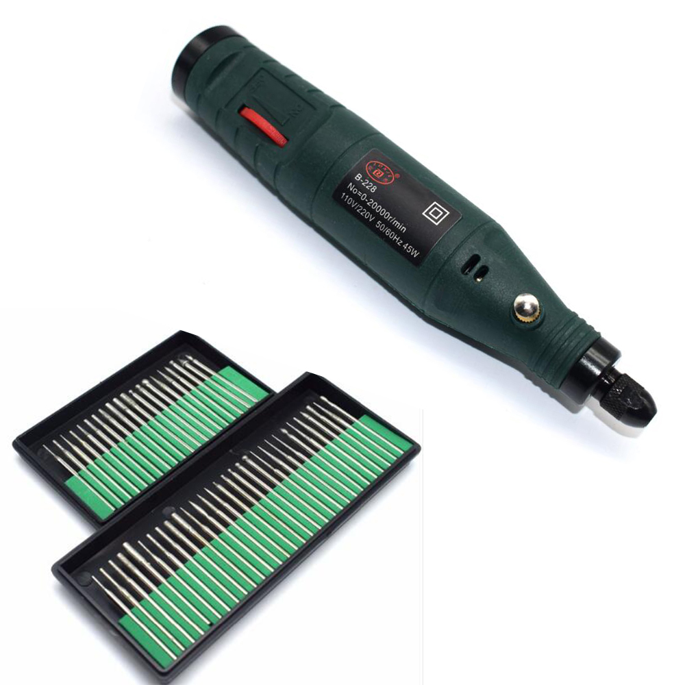 Mini Electric Drill Dremel Grinder Engraving Pen Grinder Jewelry DIY Electric Rotary Grinding Machine +50PCS Diamond Burs