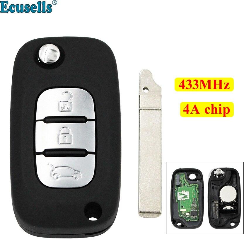3 boutons OEM Flip télécommande porte-clés 433 MHz avec puce 4A pour mercedes-benz Smart Fortwo 453 Forfour 2015-2017