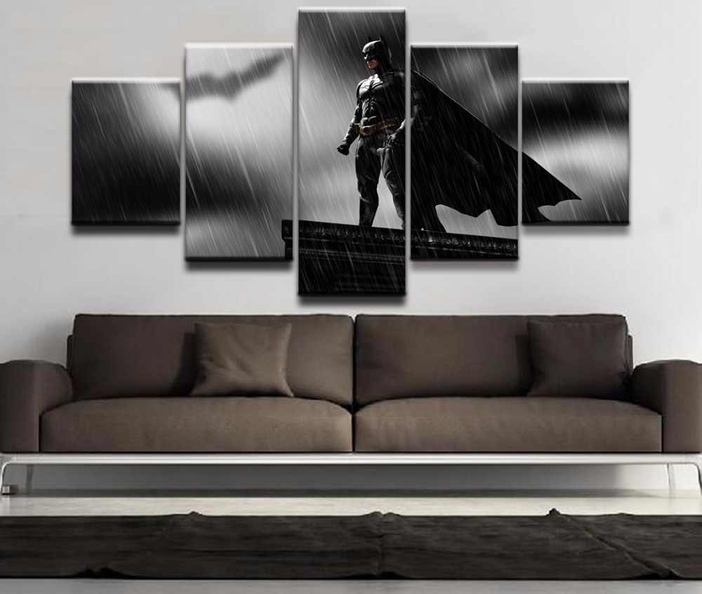 Home Wall Art Modern Decor Frame Living Room 5 Pieces Modular Pictures Movie The Dark Knight Batman Poster Print Canvas Painting