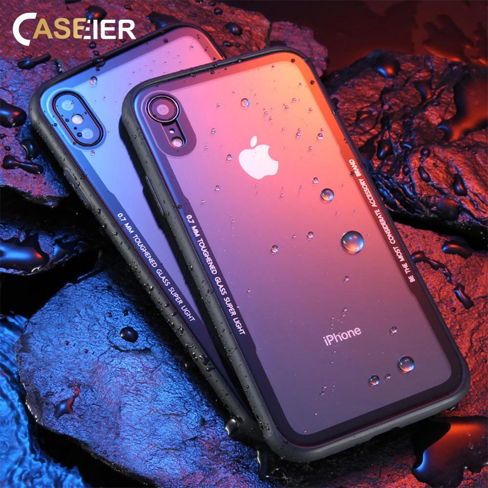 Caseier Tempered Glass Phone Case til iPhone X Soft Silicone Edge 0.55 mm Beskyttelsesglas Cover til iPhone 7 8 Plus Intime Tilbehør